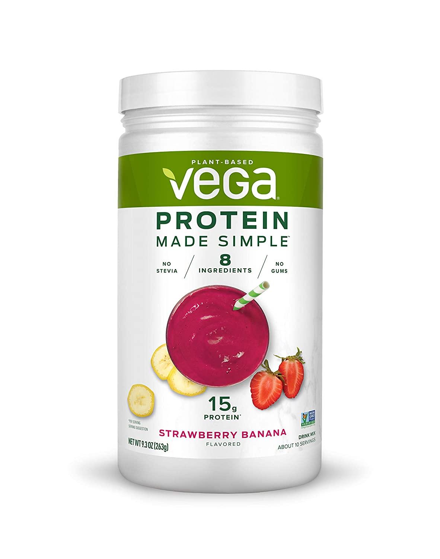 Vega Protein Made Simple - Strawberry Banana (10 Servings), 9.3 Oz - Delicious Plant Based Healthy Vegan Protein Powder - Stevia Free, Dairy Free, Gluten Free, Non Gmo, No Gums