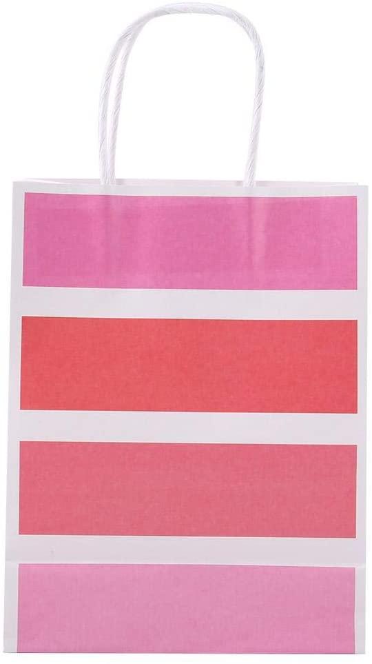 Fishlor Candy Favor Bag, Pink Blue Green Purple Optional Gift Bag Kraft Paper Kraft Paper for Wedding, Custom Gift Bag Party Supplies for Party Shopping(Pink)