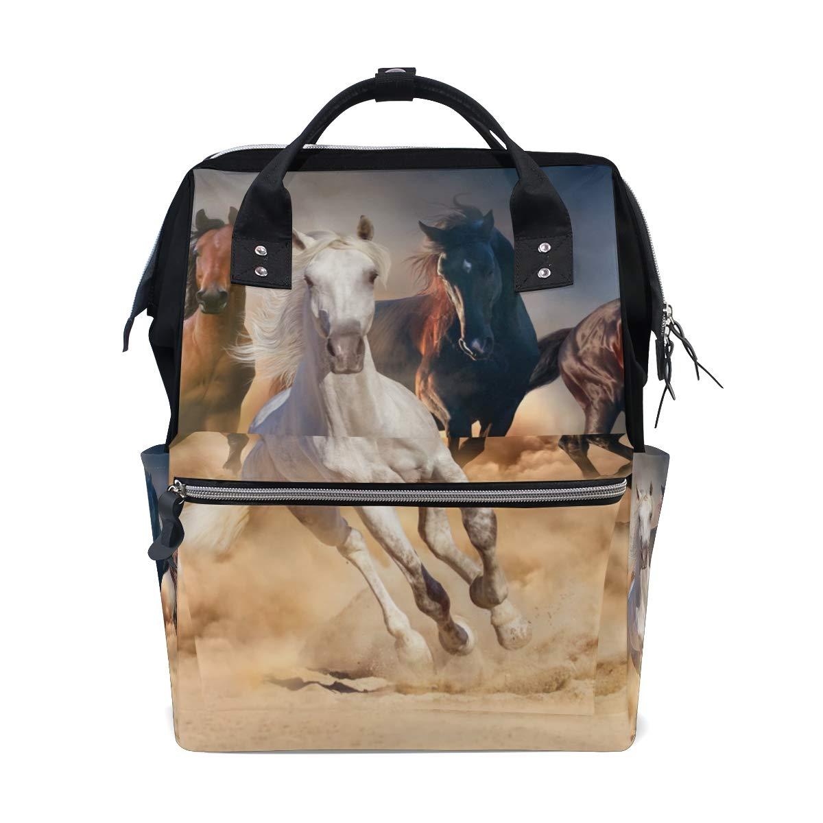 MERRYSUGAR Diaper Bag Backpack Horse Multifunction Travel Bag