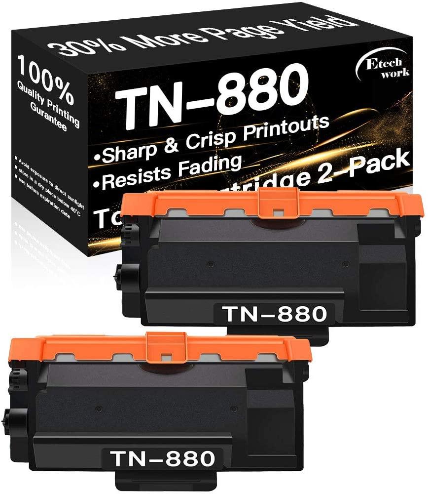 2-Pack Compatible TN880 Printer Toner Cartridge TN-880 Used for Brother L6200DW L6300DW HL-L6400DWT MFC-L6700DW L6800DW L6900DW (Black), Sold by Etechwork