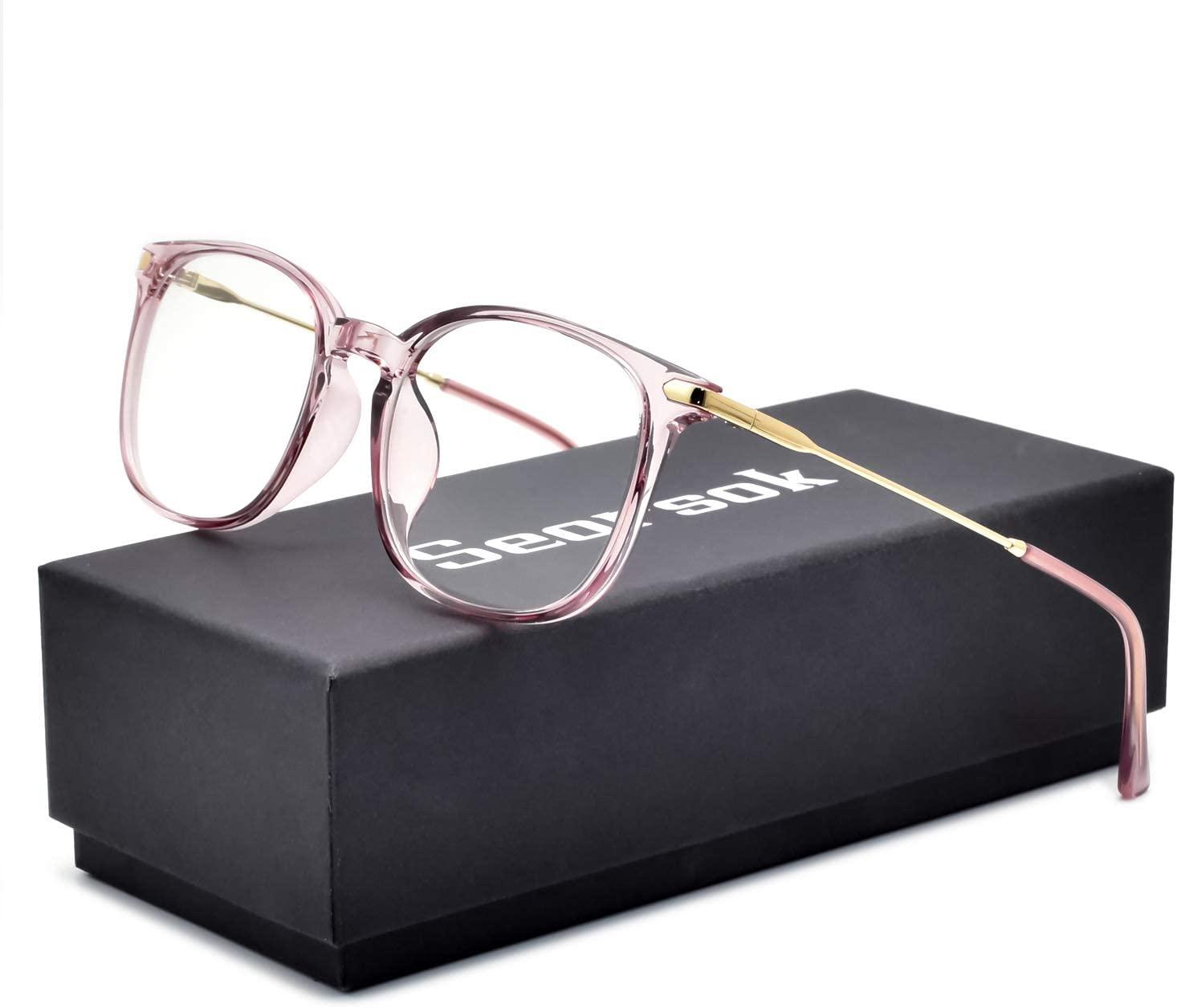 Seorsok Blue Light Blocking Glasses Computer Gaming for Women Men TR90 Lightweight Flexible Frame, Anti-Glare to Protect Eyesight-Transparent Pink