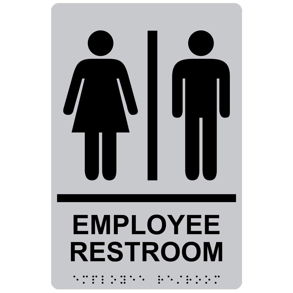 Employee Restroom Sign with ADA-Compliant Braille and Raised Letters, 9x6 in. Silver Acrylic with Adhesive Mounting Strips by ComplianceSigns