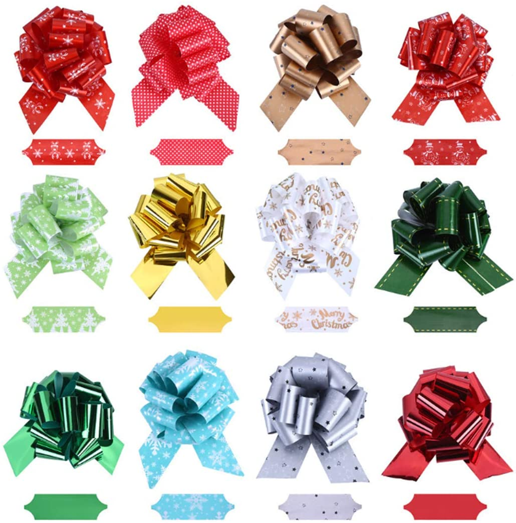 12 Pcs,Christmas DIY Handmade Gift Wrapping Colorful Overlapping Pull Flower Bow Ribbon,1.57×4.12 inch