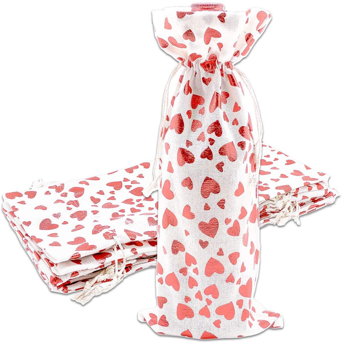 12pk Cotton Canvas Muslin Bottle & Wine Gift Bags with Drawstring (Red Hearts, 6 x 14) for Storage, Holiday Parties, Promotional Events by TheDisplayGuys