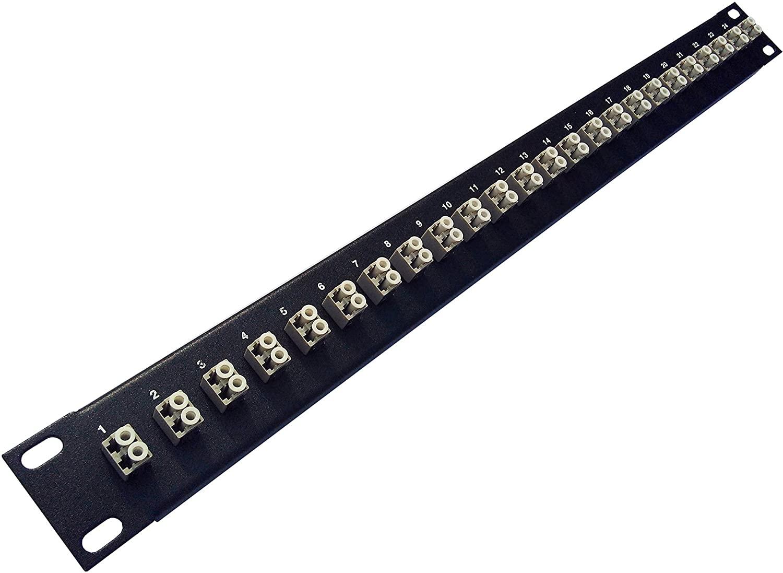 24 Port LC Fiber Patch Panel Multimode (Beige Couplers) (Loaded 1u) 19