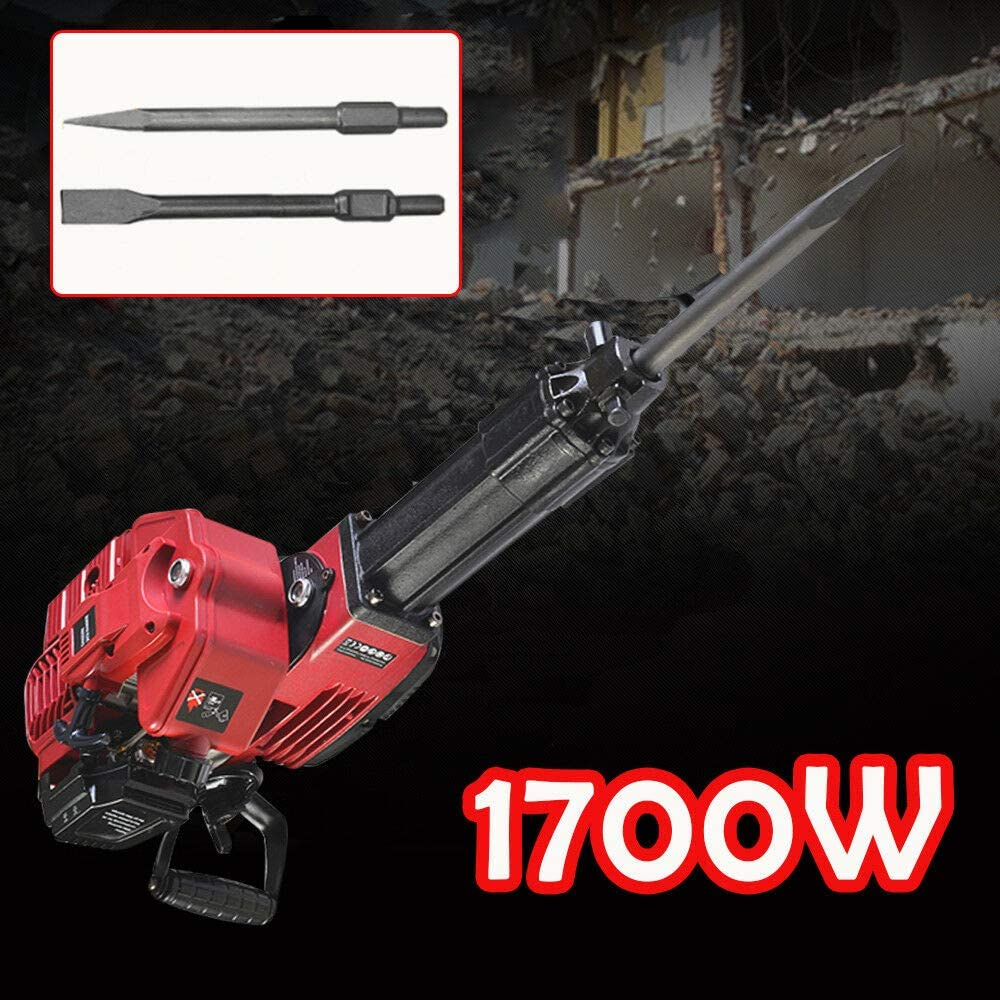 CNCEST 52cc 2.4HP 2 Stroke Electric Gas Powered Gasoline Piling Demolition Jack Hammer Concrete Block Breaker Punch Chisel Drill Single Cylinder Air Cooling Bit 1700W