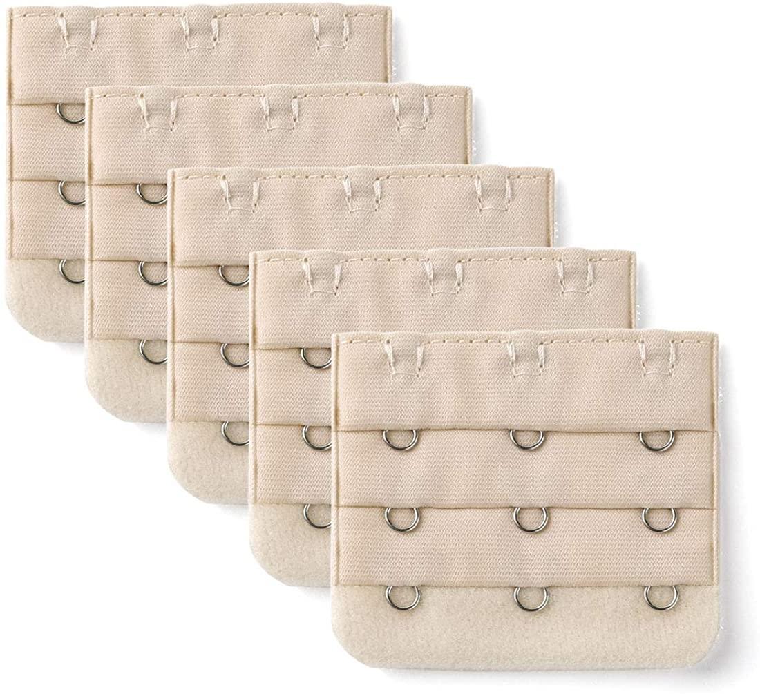 Allegra K 3 Hook 3 Row Underwear Bra Strap Extension Buckle Hooks 5 Pcs for Women Beige One Size
