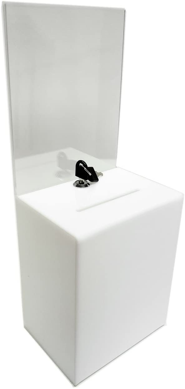 Source One Premium Tall Donation Box for Charity with 6.75″ x 8.5″ Sign Holder Available in Multiple Colors (1 Pack, White)