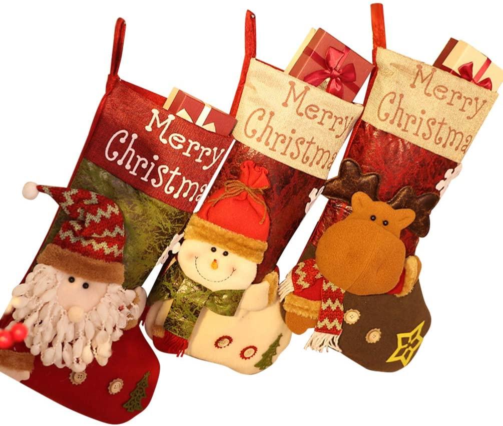 IMIKEYA 3pcs Christmas Stocking Creative Large Christmas Candy Socks Hanging Socks Gifts Bag for Christmas Decoration Party Kids