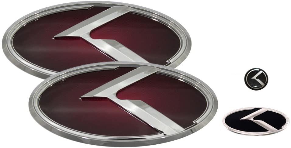 3D K Logo Emblem Red & Chrome Edition Set 4pc Front + Rear + Steering Wheel + Mini Sticker (Fit: KIA 2014-2016 Forte Koup , K3 Koup , Cerato Koup)