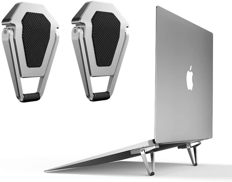 HAII Metal Laptop Stand Portable,Anti-Slip Durable Smart Laptop/Notebook Stands Lightweight Stable Kickstand, Ultra Compact & Foldable Storeable for Laptop,Silve
