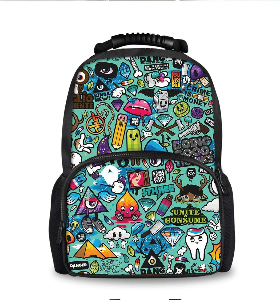 Lightweight Backpack for School Business Travel, Retro Robot Trippy Art Bag for Men Women Kids Youth, Large Capacity Daypack with Bottle Side Pockets