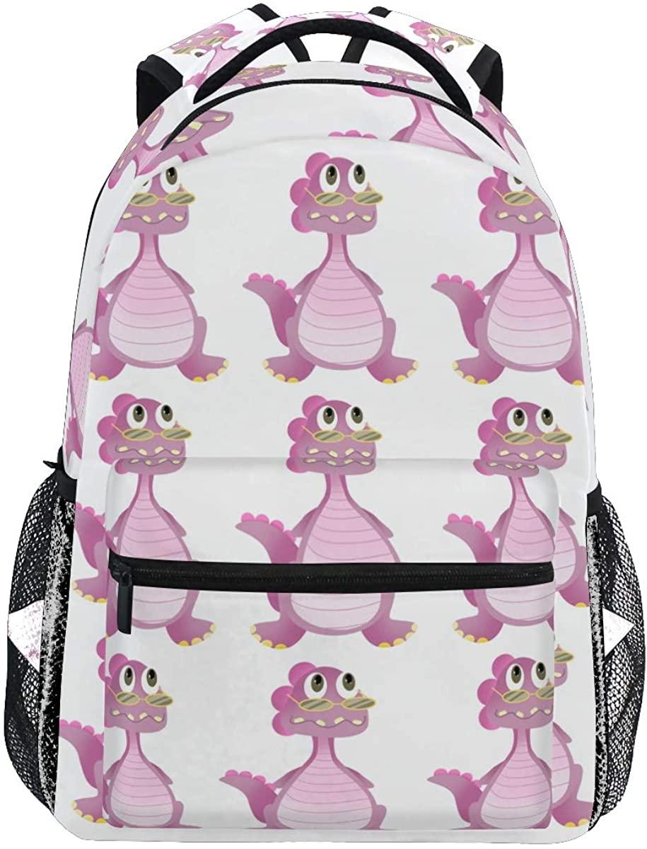Cartoon Cute Dinosaur Glasses Backpack School Bookbag Rucksack Shoulder Book Bag for Boys Girls Women Travel Daypacks