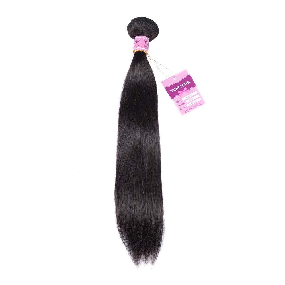 Aigemei Peruvian Virgin Straight Human Hair Weave one Bundle Peruvian Silky Straight Hair Weft Black Natural Color(100g 24inch)