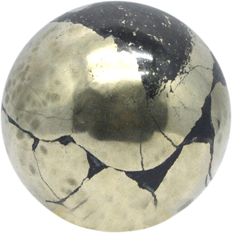 DHAROHAR HANDICRAFT Healing Chakra Stones Crystal Decor Quartz Sphere, Reiki Energy Meditation Negative Ion Generator Sphere for Positive Energy (Pyrite 40-50 MM)