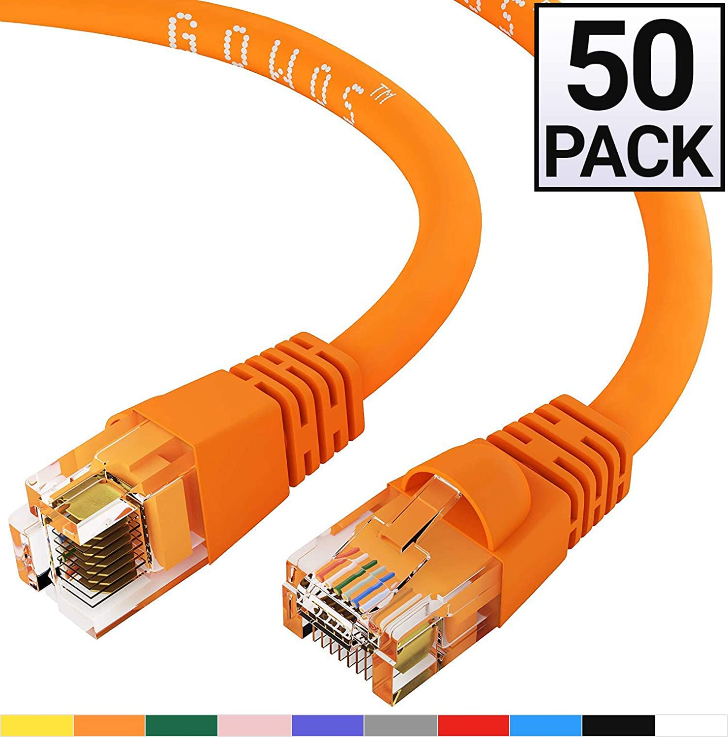 GOWOS 50-Pack, Cat6 Ethernet Cable (2 Feet - Orange) UTP - Computer Network Cable with Snagless Connector - RJ45 10Gbps High Speed LAN Internet Patch Cord - Available in 28 Lengths and 10 Colors
