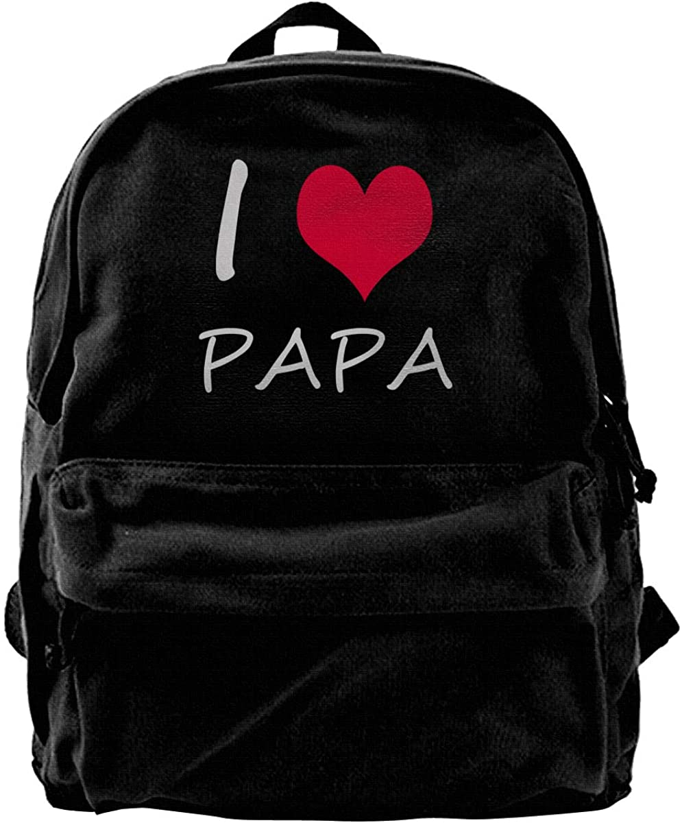 I Love My Papa Printed Canvas Schoolbag Backpack For Boy Girl Men Women