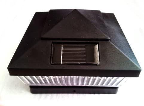 8-Pack Solar Black Finish Post Deck Fence Cap Lights for 6