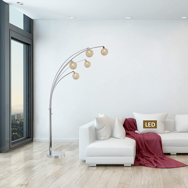 Artiva Manhattan Quan 84Crystal LED Arch Floor lamp - 84 Gold