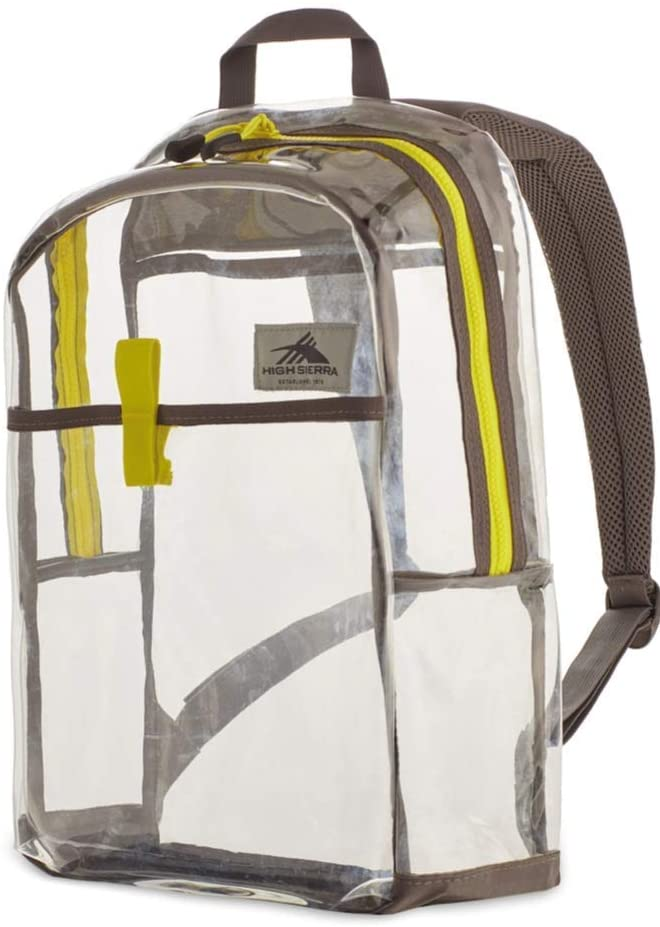 High Sierra Clear Toploader Backpack, Stadium Approved Clear Backpack Neon Green