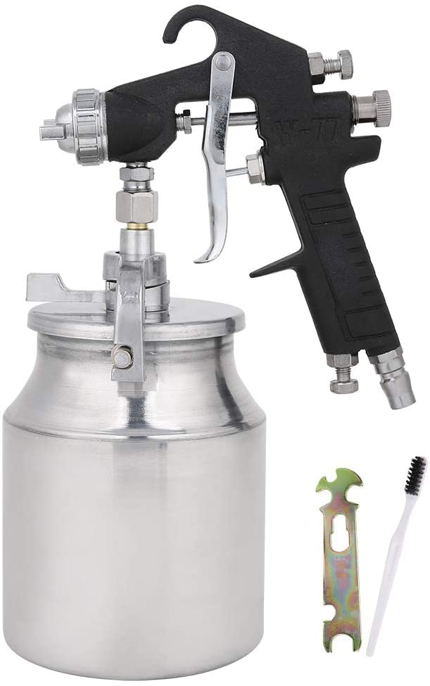 Pneumatic Spray Gun Set, Pneumatic Tool Spray Gun W‑77‑1 Car Primer Painting Sprayer 2.0mm Dia 1000ml Large Capacity