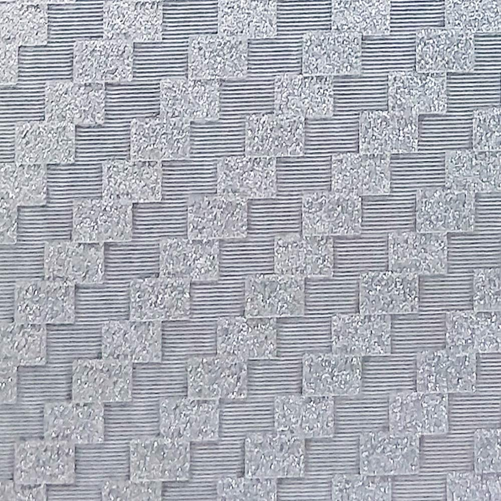 Dundee Deco AZ-G010 Geometric Glitter Silver Tiles Peel and Stick Self Adhesive Removable Wallpaper, Roll 18 ft. X 18 in. (5.5m X 45cm), 26.6 sq. ft. (2.5 sq. m)