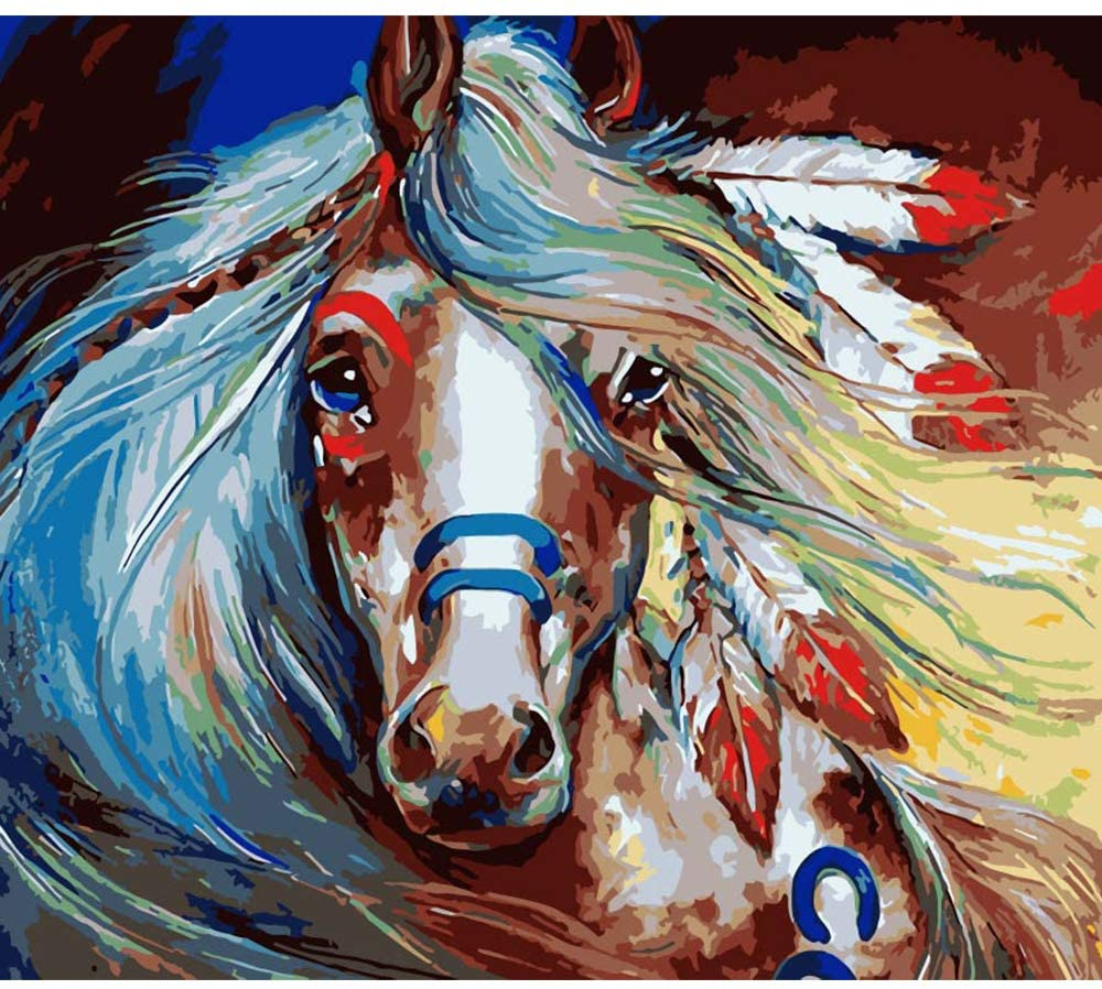 Shoci DIY Oil Painting, Paint by Numbers Kits for Kids , Adults and Beginner , Color Horse 16x20 Inches