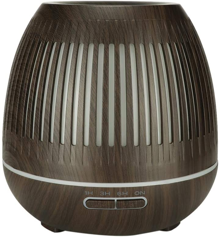 400ml Aroma Diffuser Humidifier with LED Light, Wood Grain Night Light Ultrasonic Aromatherapy Air Humidifier for Bedroom Home and Office(US)