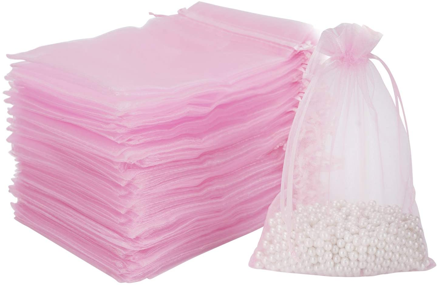 Organza Sheer Drawstring Present Bags, EUSOAR 100pcs 4 x 6 Soap Bags, Gift Present Pouches, Cosmetics and Jewelry Pearl Bags, Party Holiday Favor Bags-Pink