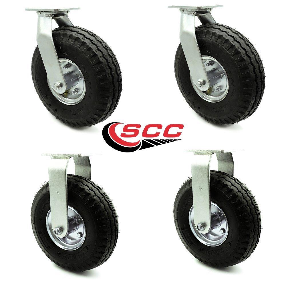 10 Pneumatic Caster Set of 4-2 Swivel/2 Rigid - Black Rubber Wheel - 1,400 lbs. Capacity - Service Caster Brand