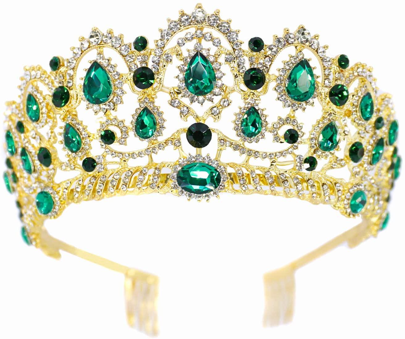 Green Crown Rhinestone Tiara with Comb, Clear Austrian Crystal Bridal Party Headband, Unique Wedding Accessories