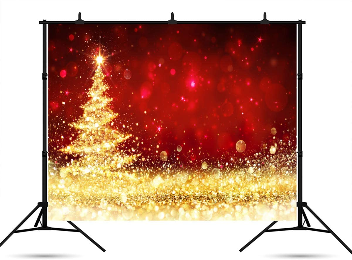 7ft(W) x5ft(H) (220x150cm) Red Photography Backdrop Microfiber Gold Christmas Tree Backdrops for Picture