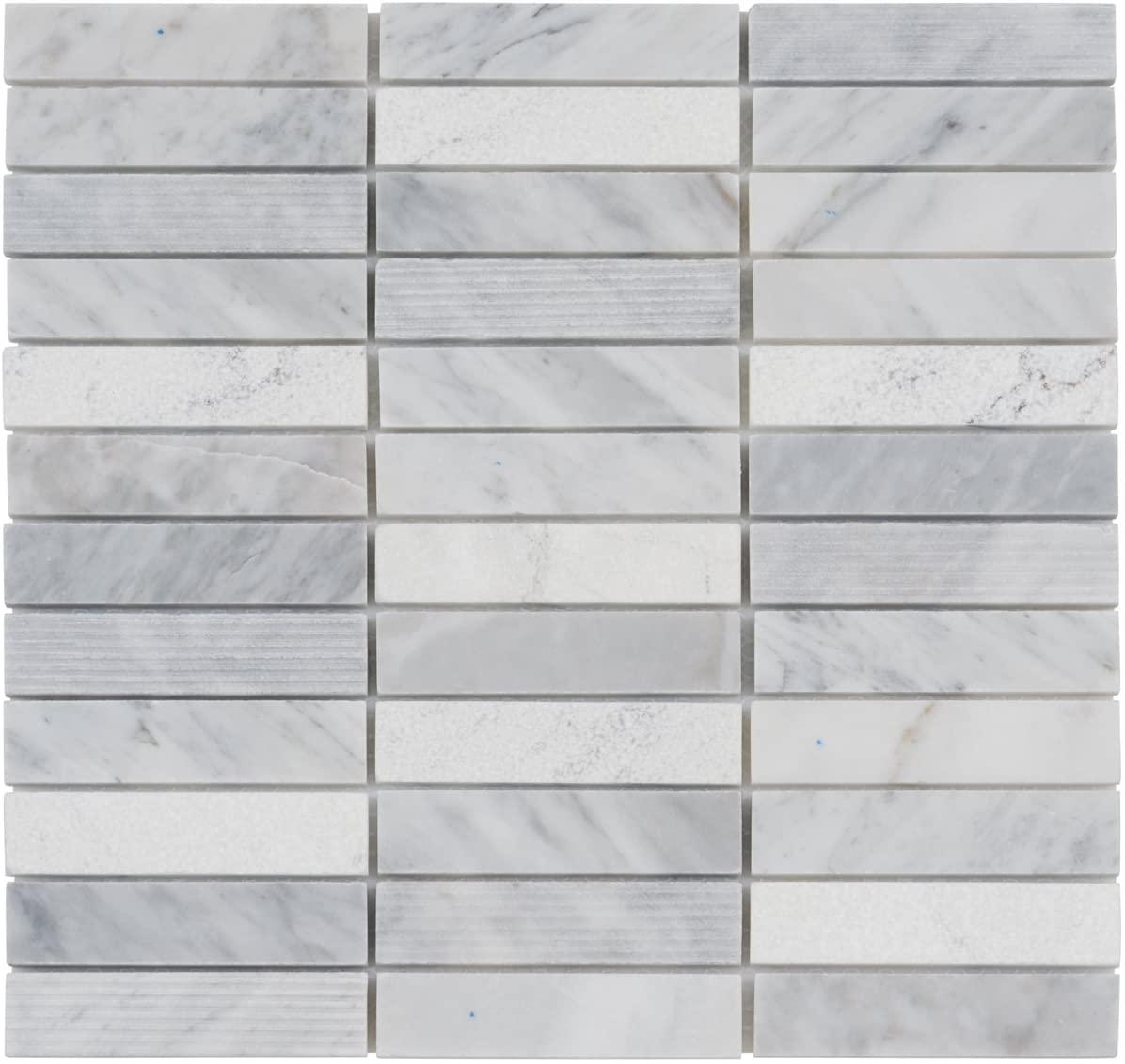 Modket TDH54MO White Carrara Marble Stone Mosaic Tile, Texture Blend Stacked Pattern Backsplash