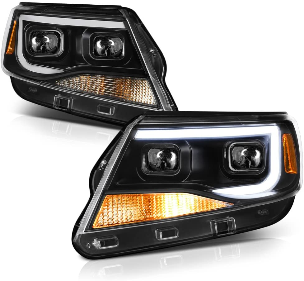 VIPMOTOZ Neon Tube Projector Headlight Assembly For 2015-2018 Chevy Colorado - Matte Black Housing, Driver and Passenger Side