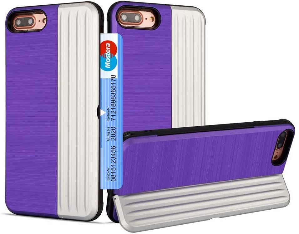 i8 Plus Phone Case Kickstand Compatible with Apple iPhone 7/8 Plus Cases Credit Card Holder ID Slot PC TPU Cover 7Plus 8Plus i7p i8p Bumper-4.7 inch (Purple)