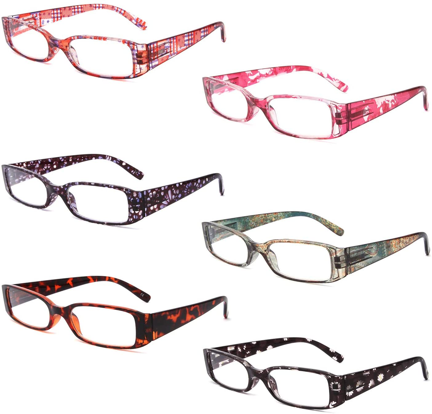 Reading Glasses 6 Pack Ladies Quality Fashion Colorful Rectangular Readers for Women