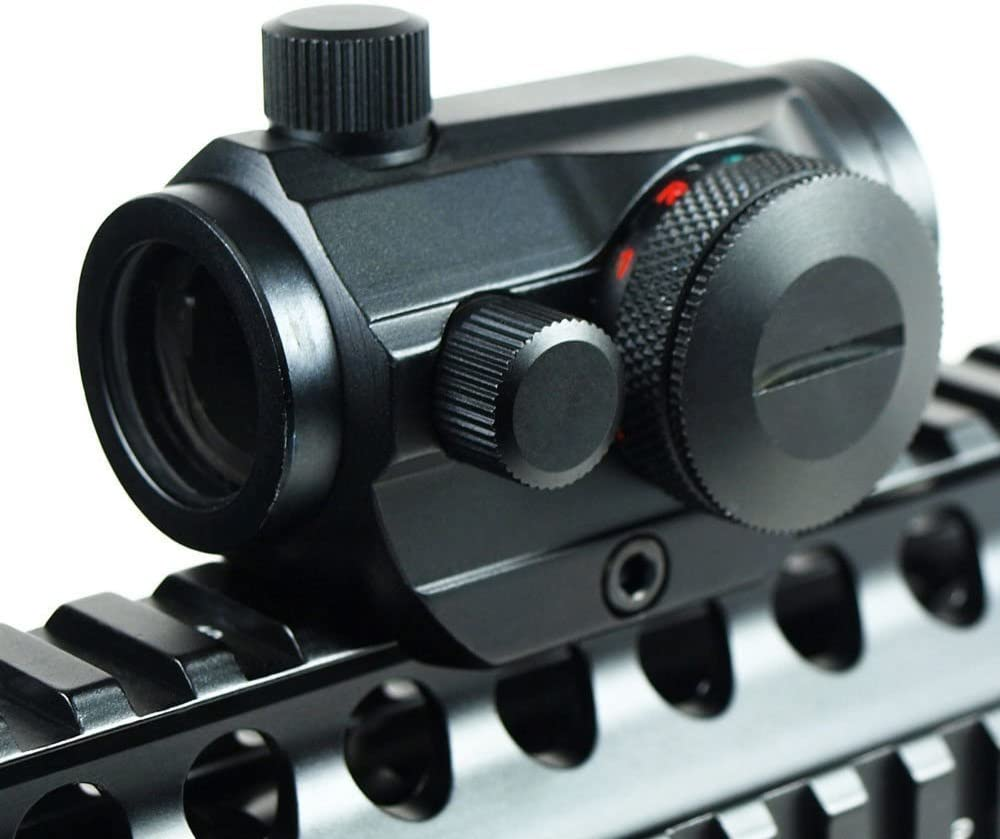 IRON JIA'S Tactical Holographic Micro T-1 1X24 Red & Green Dot Scope Riflescope Black with Riser Mount Rifle Hunting