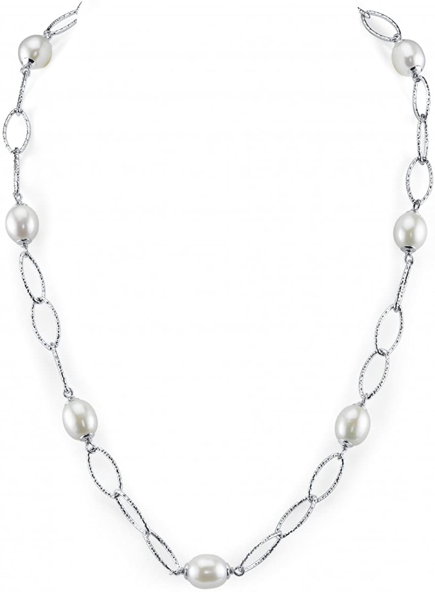 THE PEARL SOURCE 9-10mm Genuine White Freshwater Cultured Pearl Link Necklace for Women