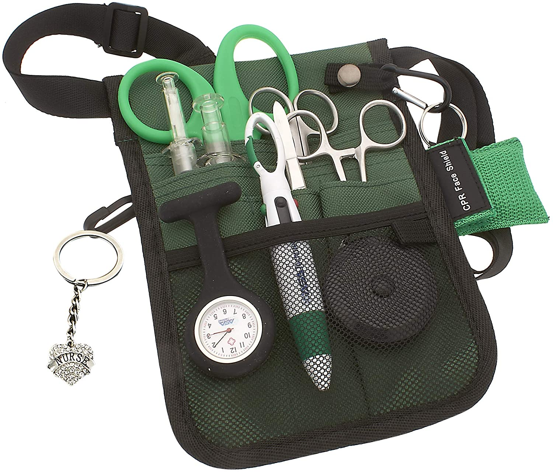 AsaTechmed Medical Belt Utility Kit, Nurse Pro Pack Pocket Organizer Pouch Hip Bag | Antimicrobial, EMT, CNA, NP, PA, Student, Nurse Kit (Green)