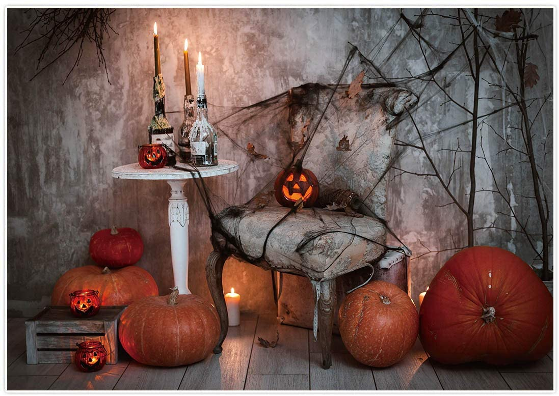 Allenjoy 7x5ft Halloween Theme Photography Backdrop Horror Night Fairy Tale House Pumpkin Lantern Spider Web Background Birthday Party Banner Table Decor Photoshoot Video Photo Booth Studio Props
