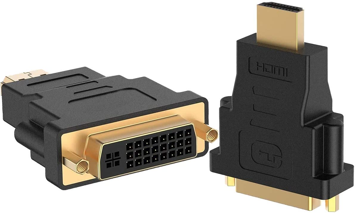 HDMI to DVI Adapter,Guamar HDMI Male to DVI DVI-D Female Adapter Bidirectional Converter for Monitor with Gold-Plated 2 Pack,Support 1080P