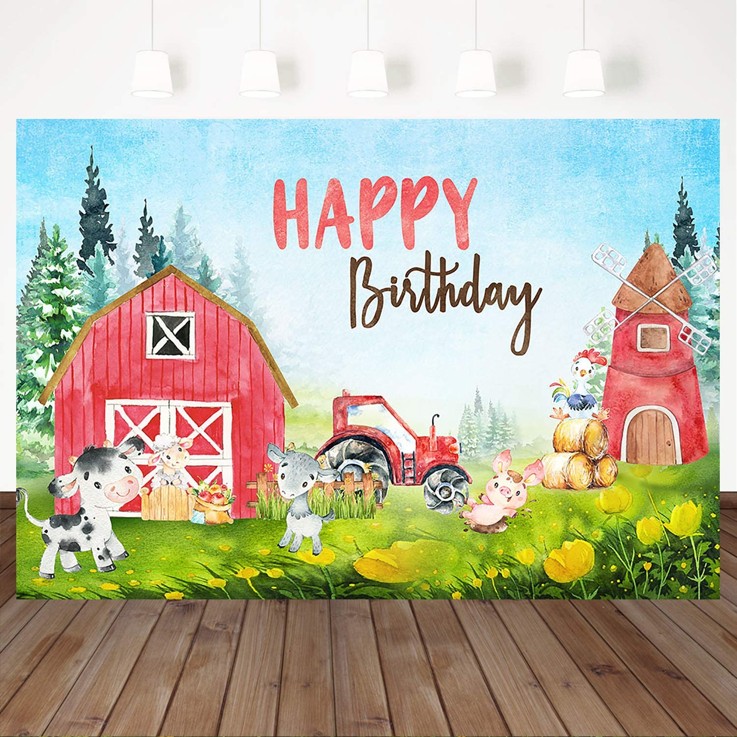Mocsicka Farm Theme Birthday Backdrop Farm Animals Birthday Background 7X5ft Vinyl Red House Birthday Party Decorations Photography Background