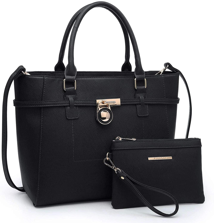 Womens Handbag Large Top Belted Padlock Shoulder Bag Tote Satchel Purse Hobo Bag for Work