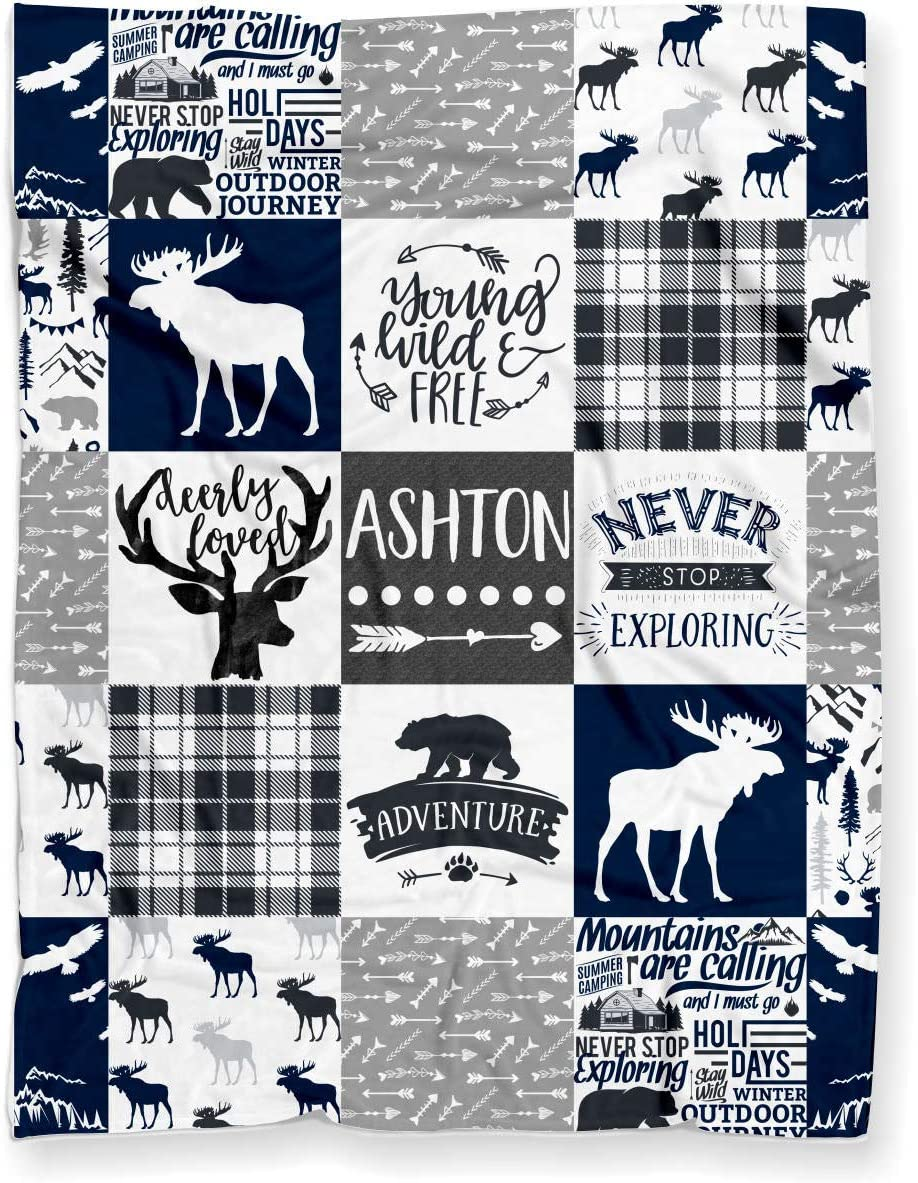 Puddle Kickers Personalized Moose Minky Baby Blanket Woodland Boho for Boy (Soft Polyester Fleece - 30