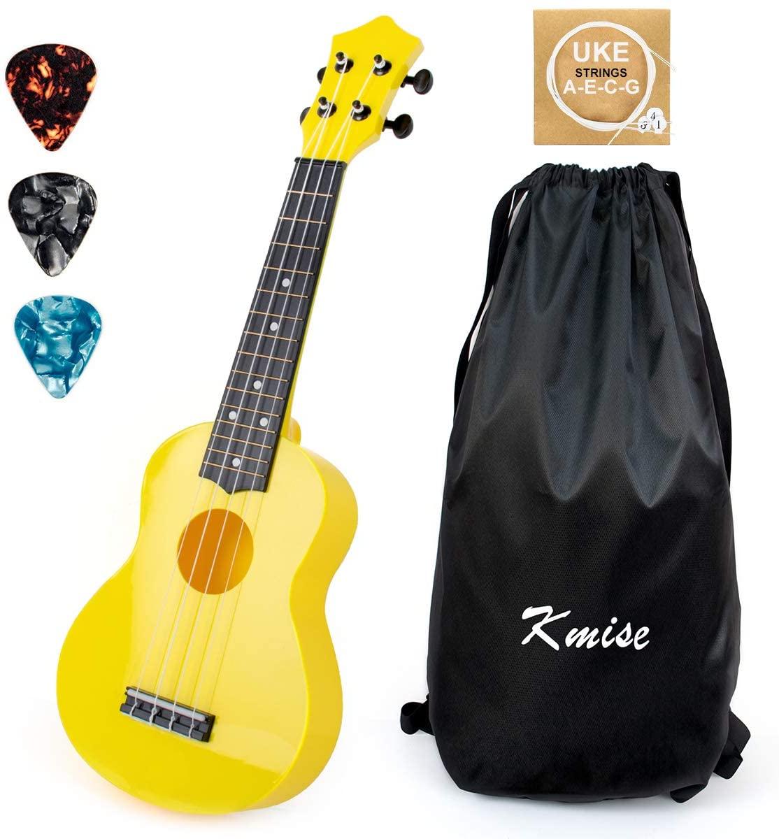 Kmise Soprano Ukulele for Beginners Kids 21 inch ukelele Birthday Chrismas gift kit with Bag Picks String