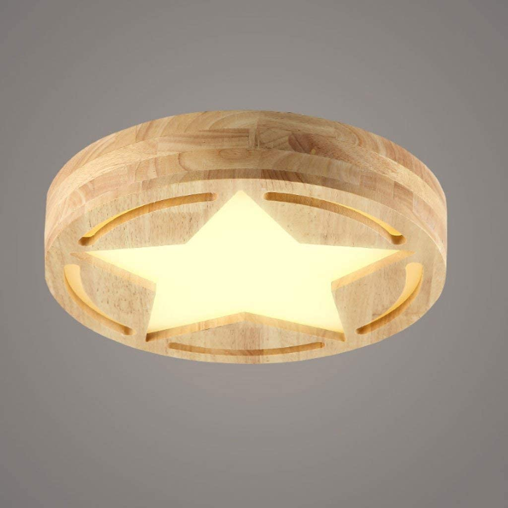 Nordic Ceiling Lights Led Ceiling Light Wood Children's Room Bedroom Kitchen massively Creative Balcony Launch Objects of Decoration Lights Two-Color dimming Light (Size: Ø 40 cmH 9 cm).