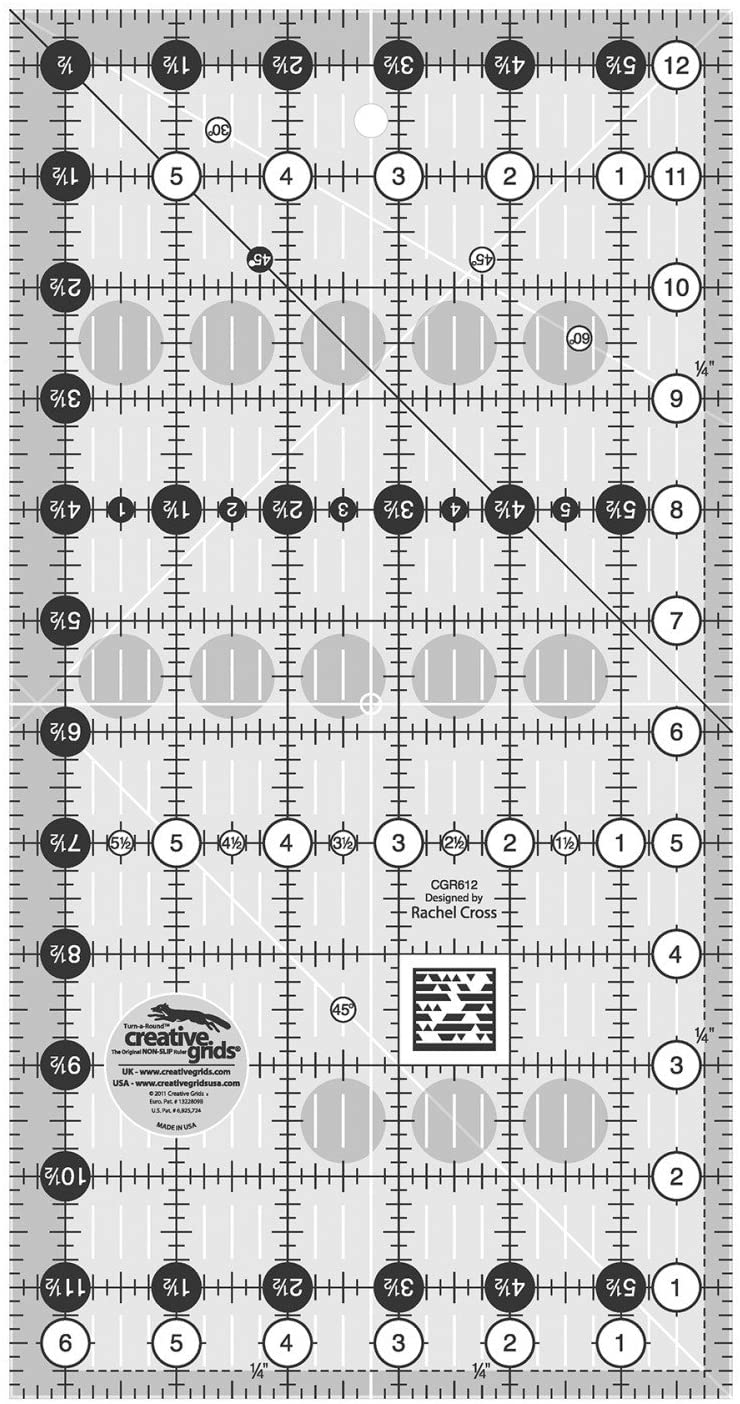 Creative Grids 6.5 x 12.5 Rectangle Quilting Ruler Template CGR612