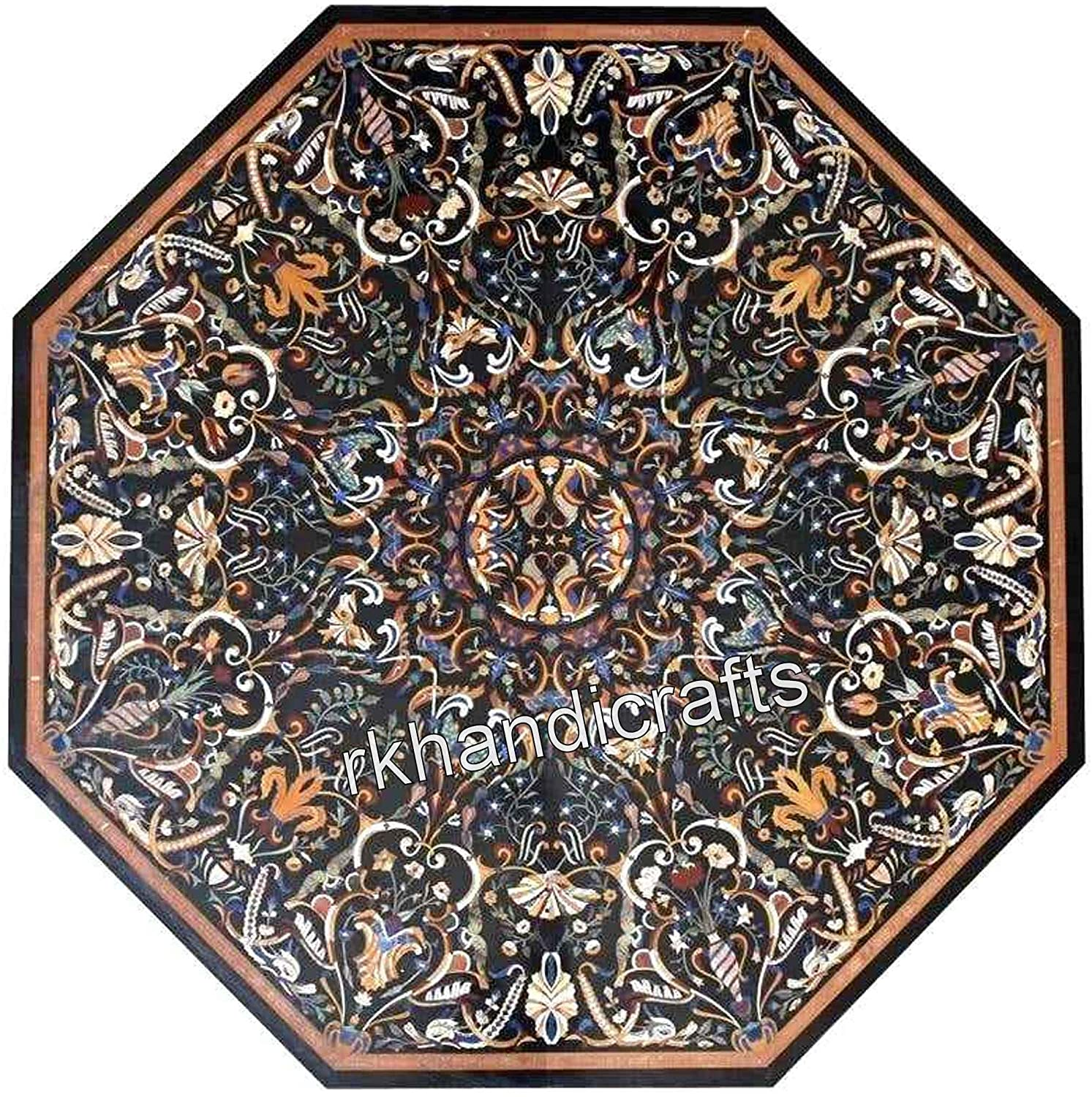 60 x 60 Inches Octagonal Shape Marble Coffee Table Top Handmade Meeting Table with Mosaic Art