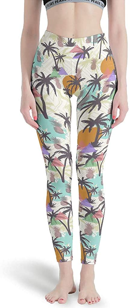 Hawaii Pineapple Coconut Tree Print Girls Leggings High Waist Yoga Leggings Compression Skinny Leggings