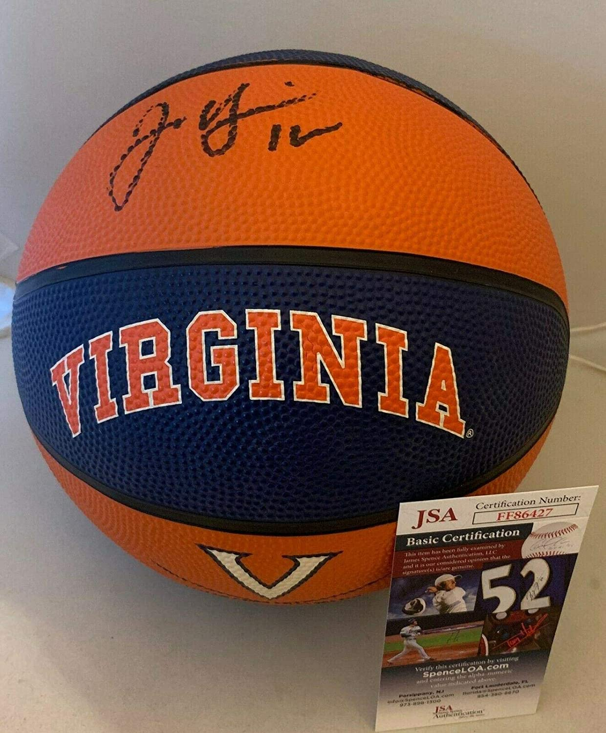 Joe Harris Brooklyn Nets signed Virginia Cavaliers F/S Logo Basketball JSA - Autographed College Basketballs